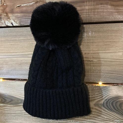 Black Cashmere Blend Bobble Hat