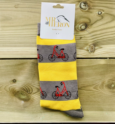 Mens Grey Bikes Bamboo Socks