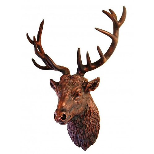 Large Bronze Effect Stag's Head