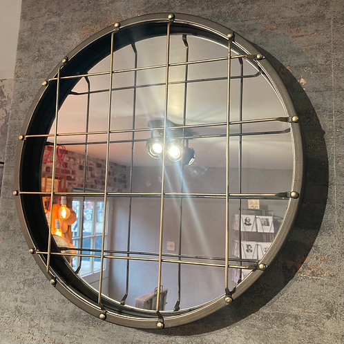 Galvanised Caged Mirror