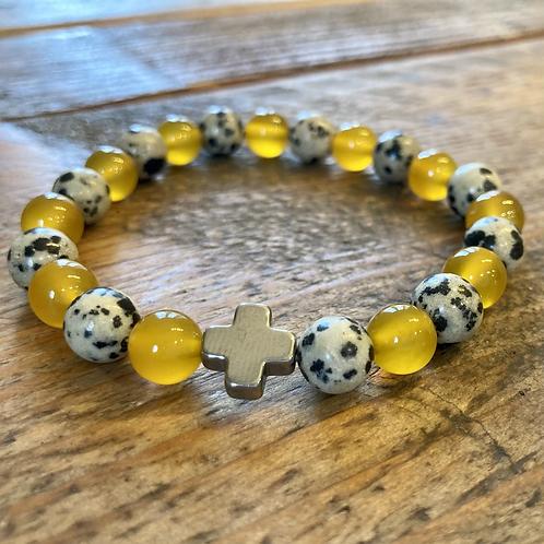 Unisex Protection Friendship Bracelet. Dalmation Jasper & Yellow Agate