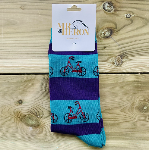 Mens Turquoise Bikes Bamboo Socks