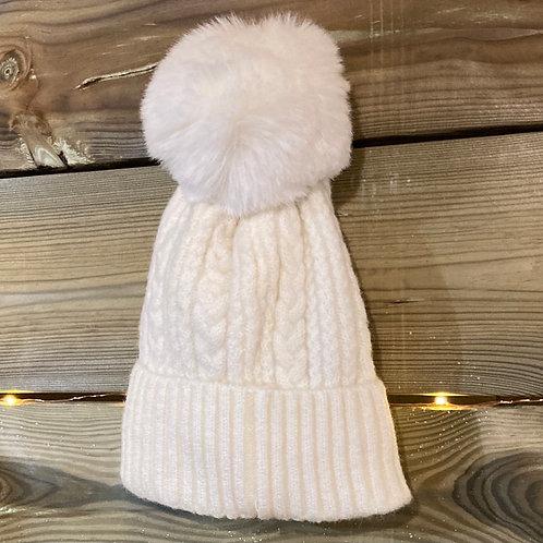 Ivory Cashmere Blend Bobble Hat