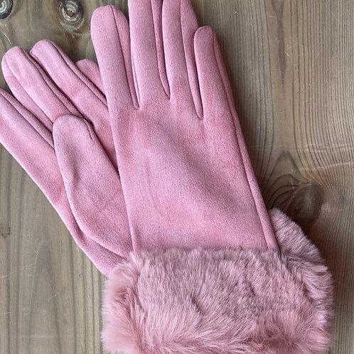 Ladies Gloves Faux Fur Cuff