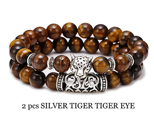 Two Piece Set Silver Tiger Tiger Eye Gemstone Bracelets