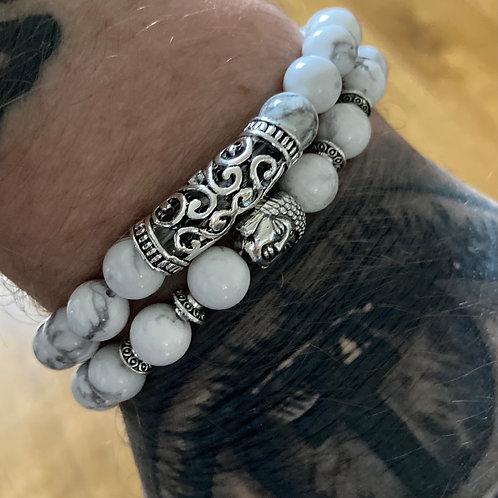 Two Piece Set Silver Buddha White Turquoise Gemstone Bracelets