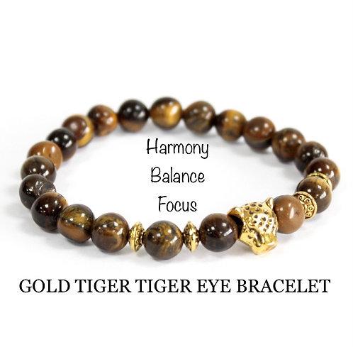Unisex Gold Tiger Tiger Eye Gemstone Bracelet