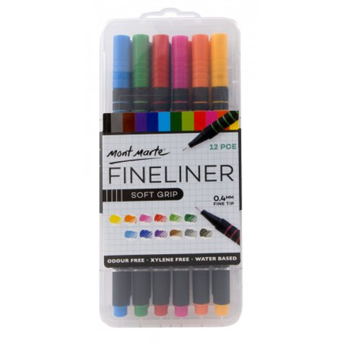 MM Fineliners Soft Grip 12pc