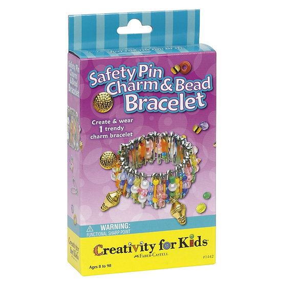 Safety Pin Charm and Bead Bracelet Kit