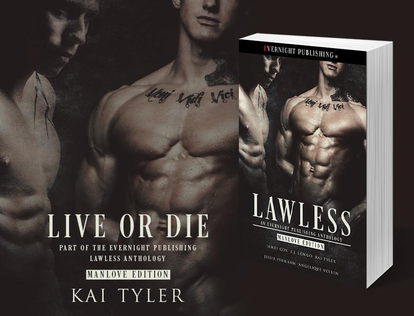Two bare-chested men with tattoos. Veni Vidi Vici