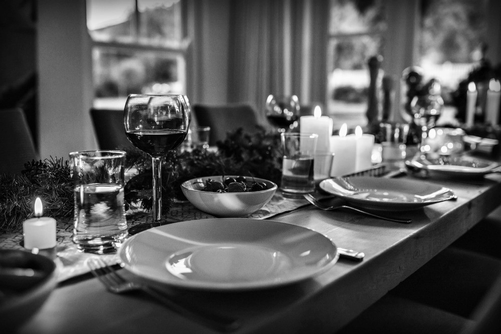 Christmas Dinner table black and white