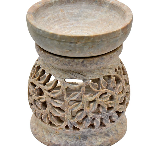 """Artisan Handcarved Soapstone 3"""" with Intricate Elegant Tendril Openwork"""