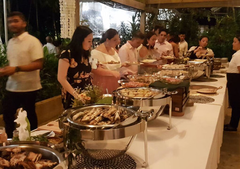 Guests Line up for the buffet meal