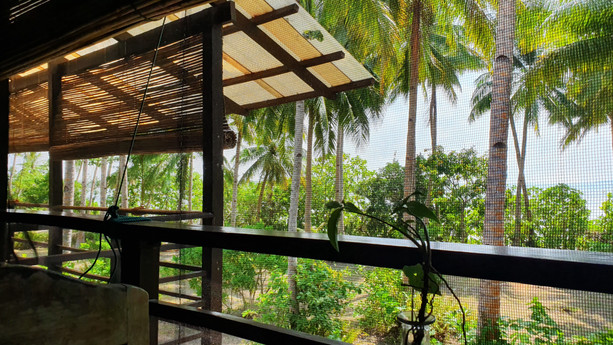 Second floor mezzanine offers a tropical view of the tides and gardens below