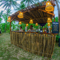 Set up is almost complete for the cocktail bar at Punta Dolores wedding venue in Siargao