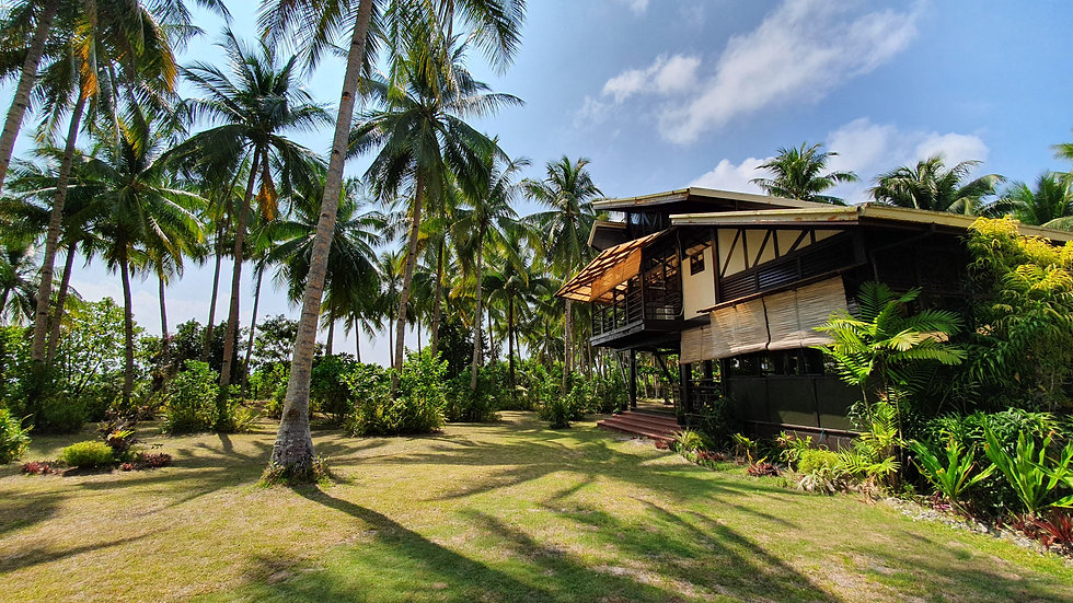 Punta Dolores guesthouse featured on a sunny day in Siargao next to palm trees and gardens