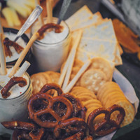 Pretzels crackers and homemade cheese display for grazing table at Punta Dolores .jpg