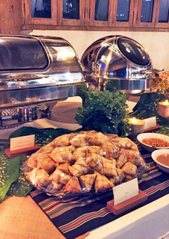 Preparing the buffet table for service