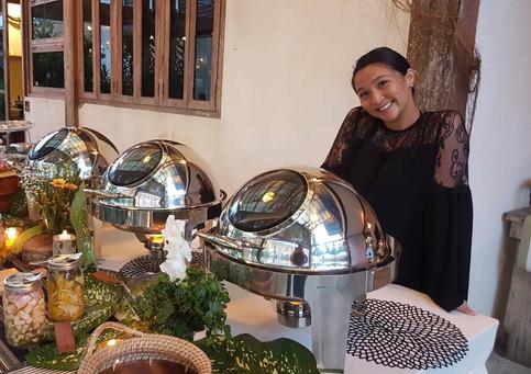 Megan is proud of her buffet display at Punta Dolores Siargao Wedding Venue