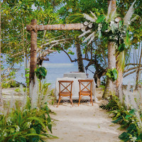 Wedding altar facing the beach at Union Bay in Punta Dolores Siargao Wedding venue