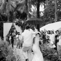 Dancing down the aisle after the ceremony