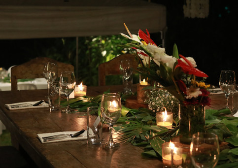 Candle lit dinners for celebrations at Punta Dolores
