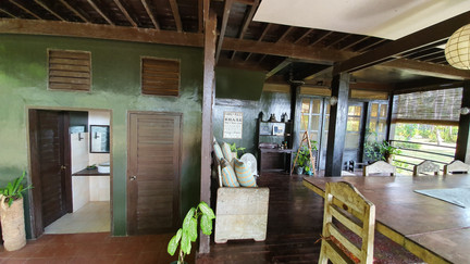 Ground floor of the Guesthouse has toilet, sink, and shower