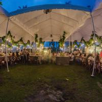 Reception tent fisheye view of interior