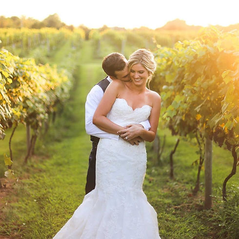 bride and groom hugging in the vineyard