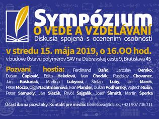 Sympózium o vede a vzdelávaní – príprava na diskusiu spojenú s ocenením osobností vedy