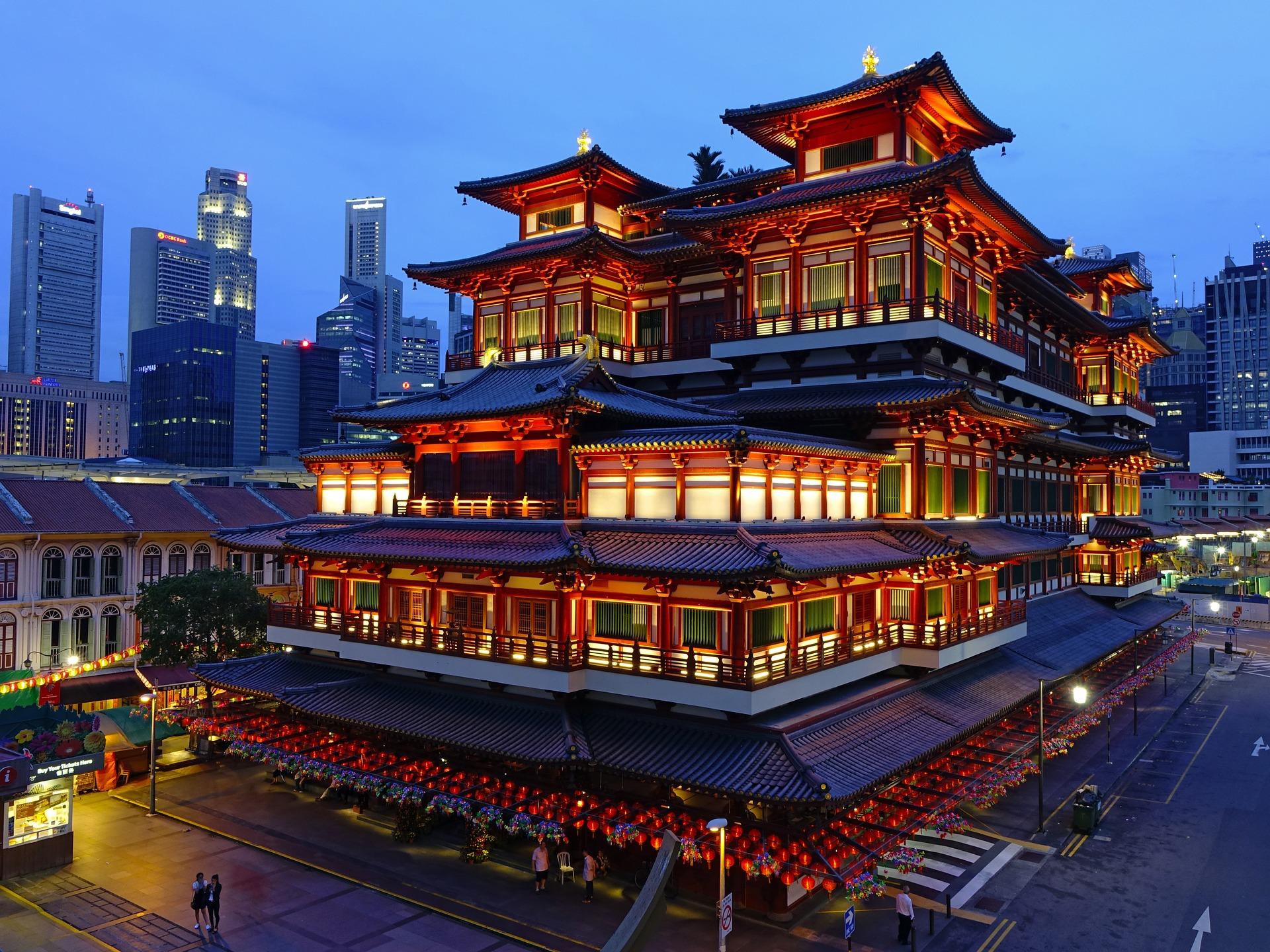 Temple relique de la dent de Bouddha singapour