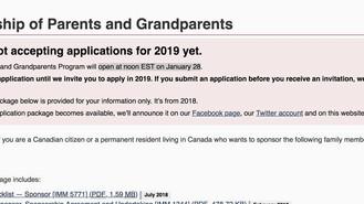 加拿大1月重開父母祖父母移民計劃!!