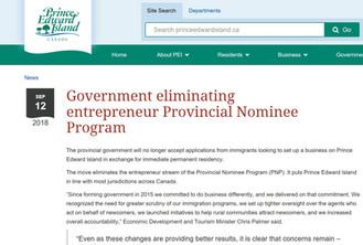 突發: 加拿大PEI省不再接受新企業移民申請!!