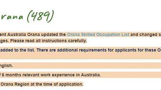 Orana澳洲偏遠地區州擔保(489)更新左職業清單!!!