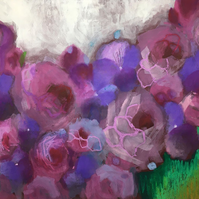 Floral Abstract 2 (Purple Violets and Roses)
