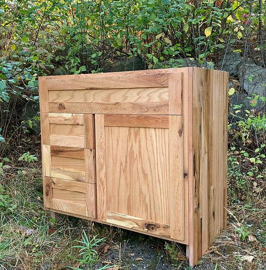 "36"" Red Oak Farmhouse Vanity, 3 drawers, 1 cabinet"