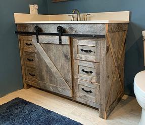 "Farmhouse Rustic Weathered Pine Vanity 48"""