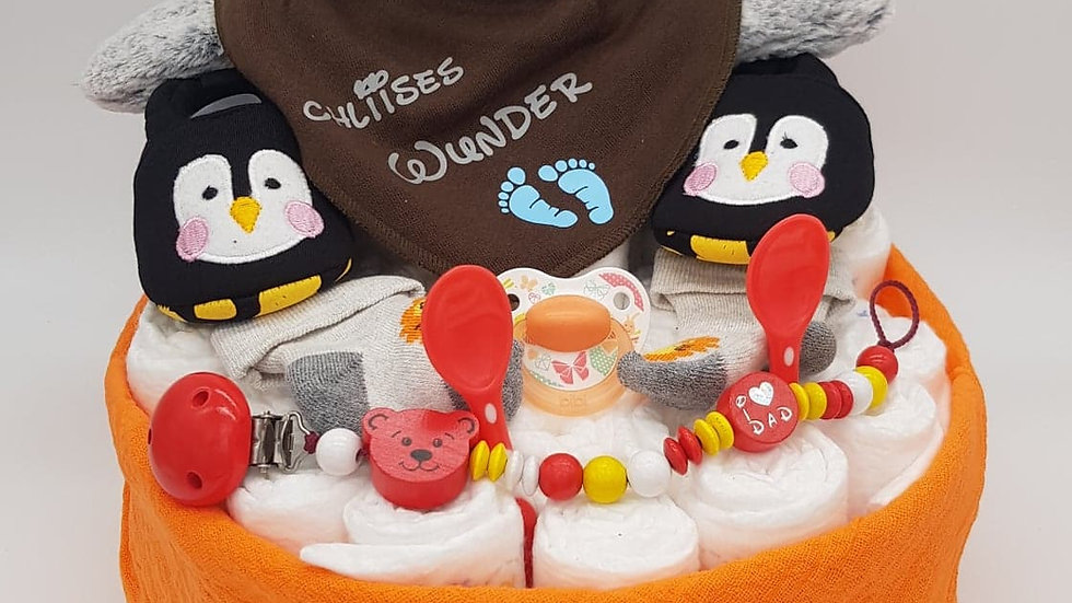 Windeltorte  Pinguin Orange