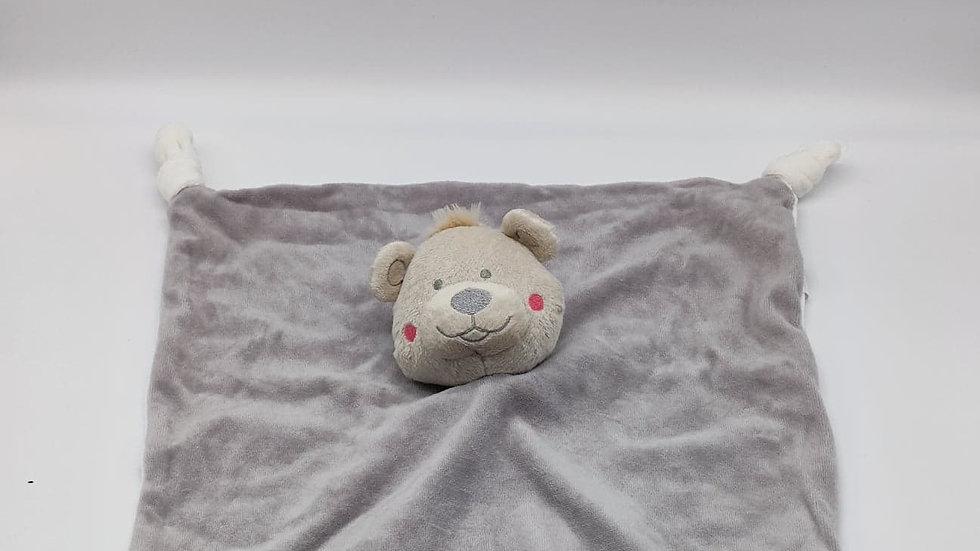 Kuscheltuch Bär grau