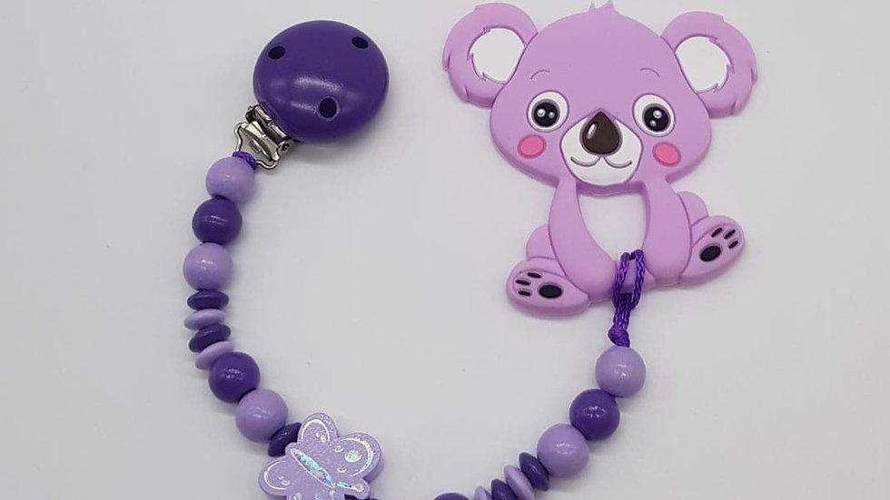 """Beisskette Lila/Violett """"Koala"""""""