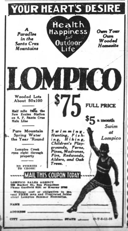 March 1925 - Lompico home sites go on sa
