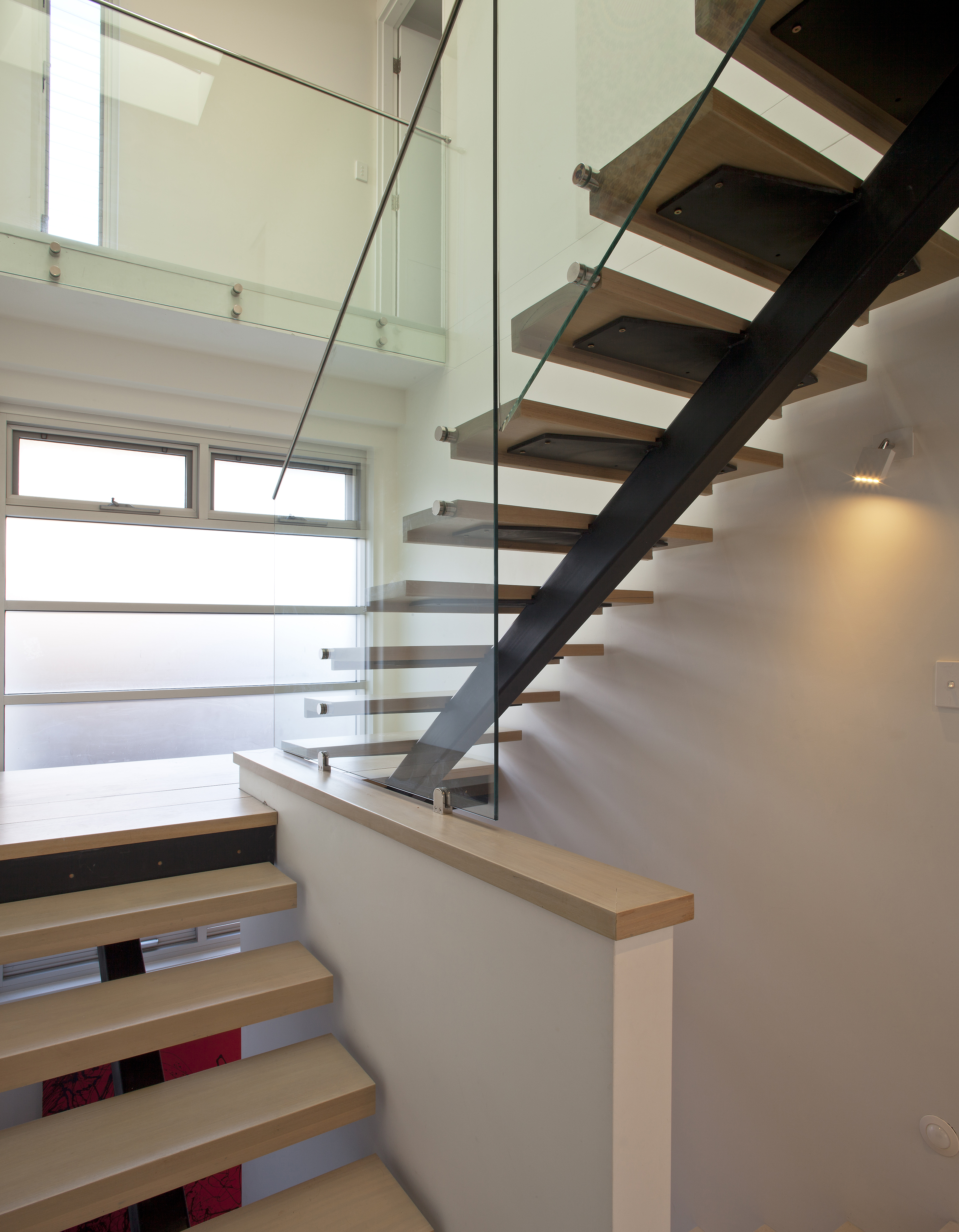 steel and hardwood stair