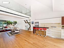 living area with mezzanine