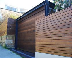 timber garage door and fence