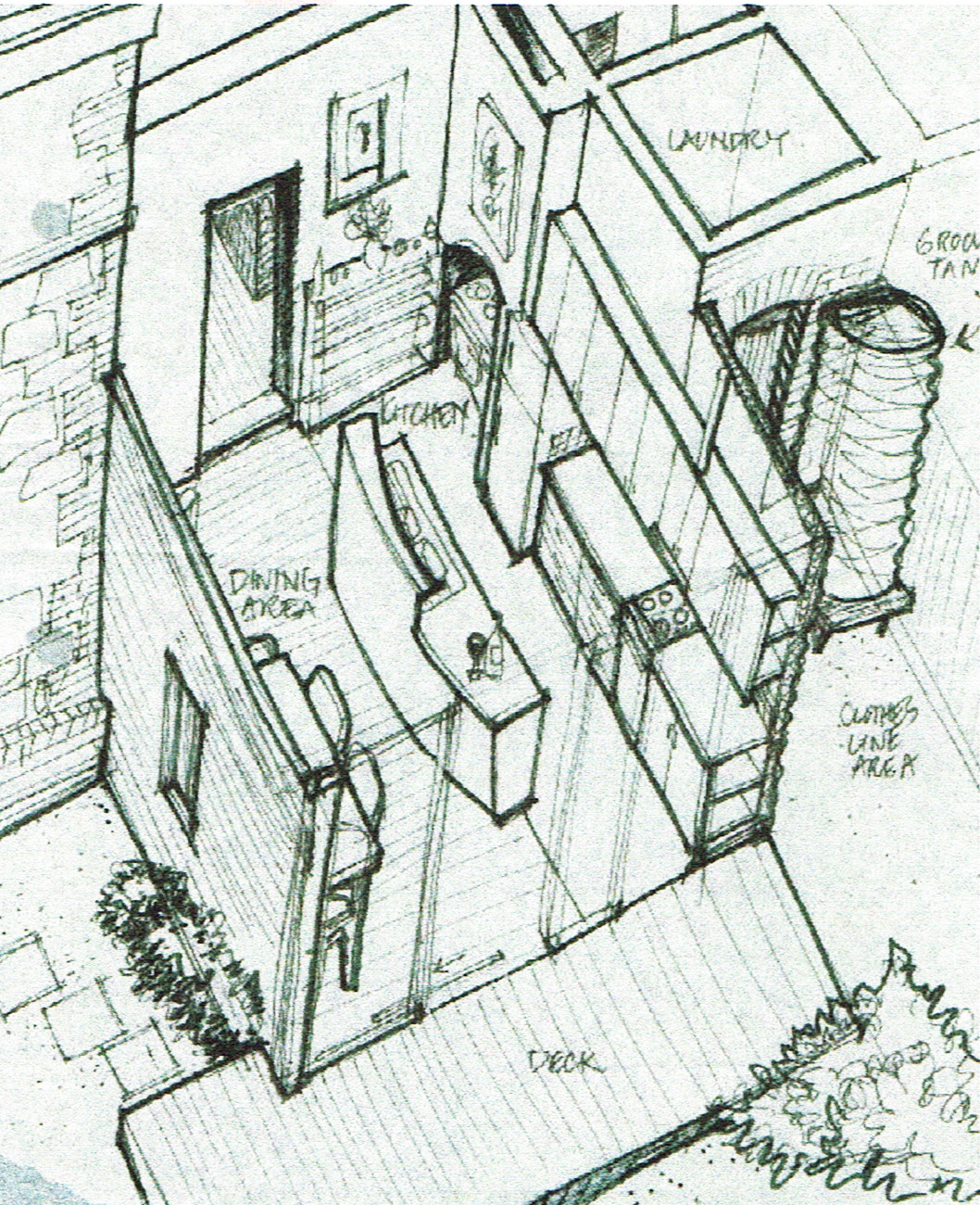 cut-away axonometric drawing