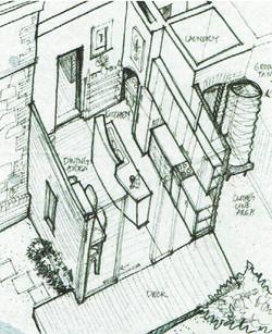 cut-away axonometric drawing