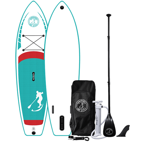 Sandbanks Style - 'CRUISER' Turquoise: 11' x 34'' x 6''Inflatable SUP Package