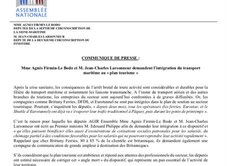 """JC Larsonneur et A Firmin-Le Bodo demandent l'intégration du transport maritime au """"Plan tourisme"""""""