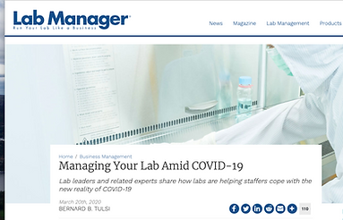 Olaris CEO, Dr. Elizabeth O'Day, featured in Lab Manager to share how Olaris has transitioned to work from home amid COVID-19