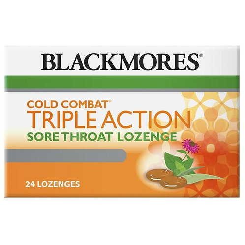 Blackmores Cold Combat Triple Action Sore Throat Lozenge 24 Pack